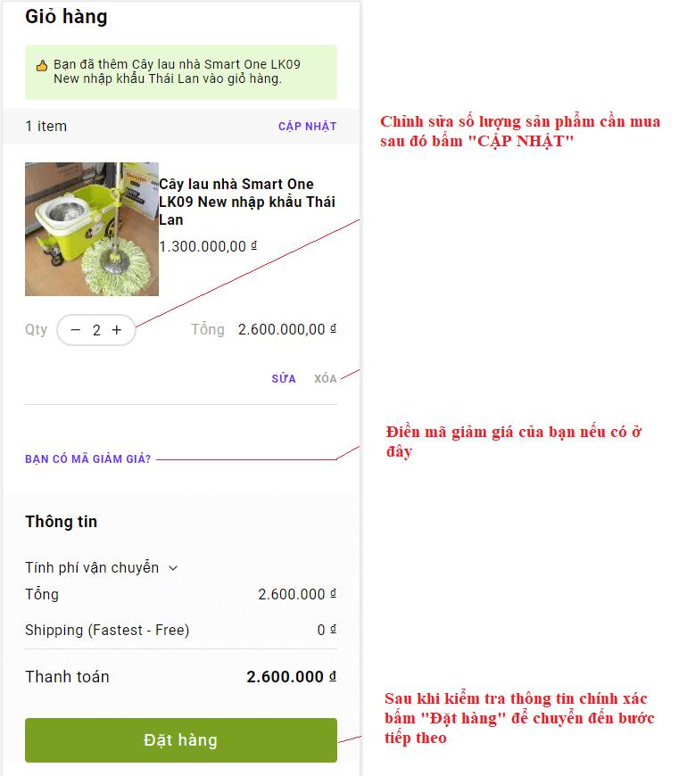 Hướng dẫn mua hàng online - Kiểm tra giỏ hàng